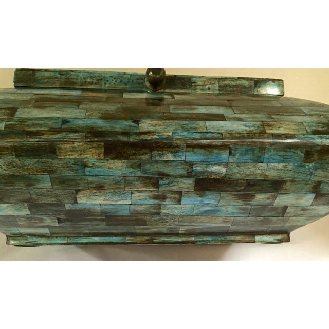 Rare Mid-Century Large Aqua Blue Tessellated Wood Box - Image 9 of 9