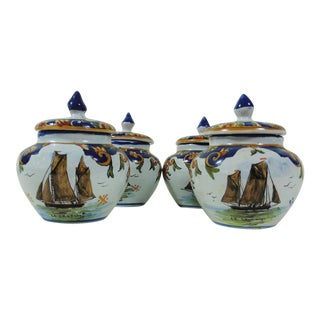 French Faience Boats Cream Pots - Set of 4