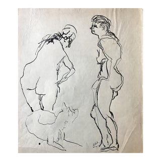"""Mid Century Ink Drawing """"Two Nudes and a Dog"""""""