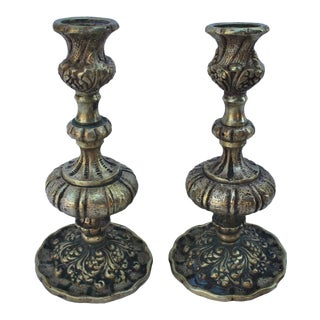 19th Century Brass English Candlestick Holders