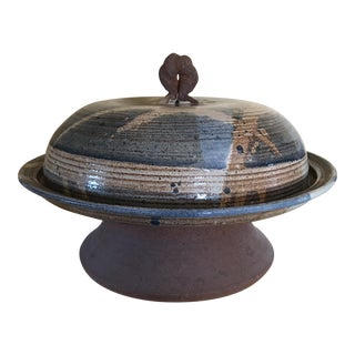 Vintage Studio Stoneware Pottery Pastry Pedestal W/Dome