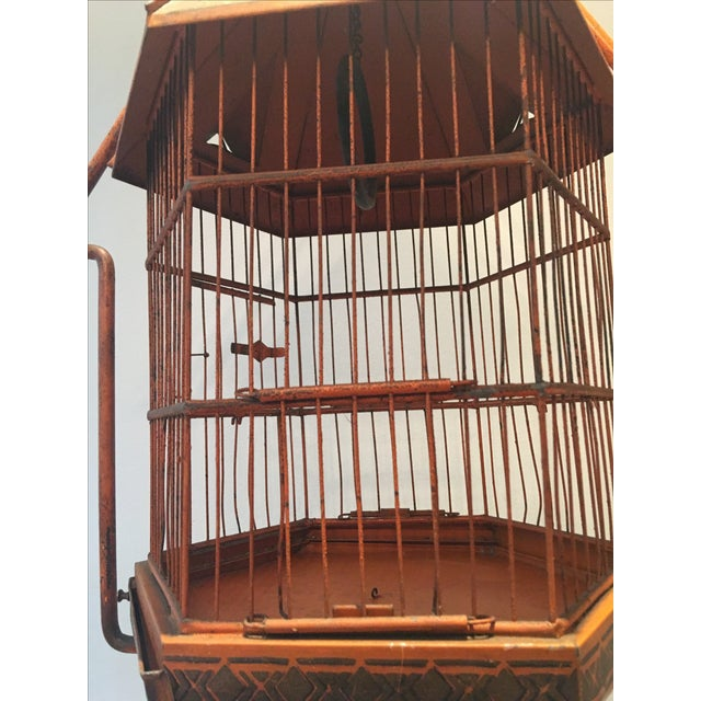 Antique 1920s Pnf Birdcage & Decorative Stand - Image 5 of 9