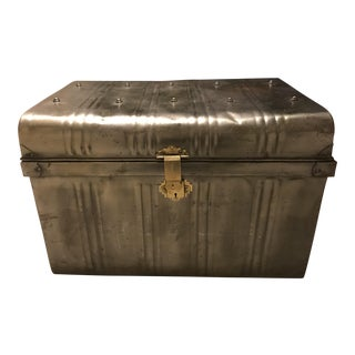 Large Vintage Industrial Metal Trunk