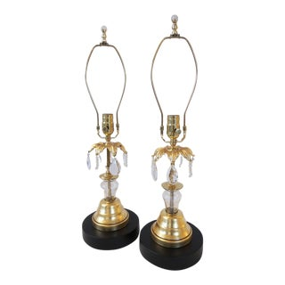 New Orleans Garden District Inspired Gold & Glass Lamps - A Pair