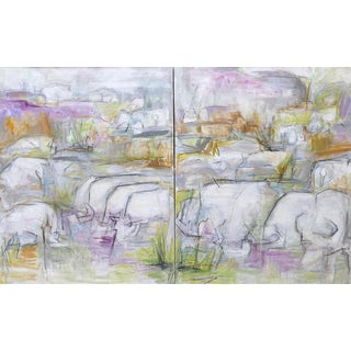 "Trixie Pitts ""Watering Hole"" Extra-Large Oil Diptych Painting"