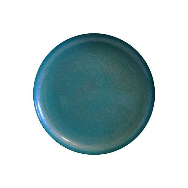Image of Aqua Blue Kyes Moire Brass Footed Bowl