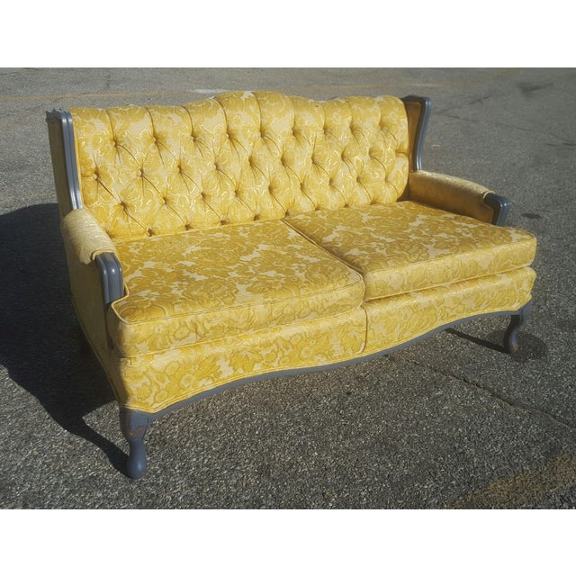 Vintage French Provincial Yellow Brocade Loveseat - Image 2 of 6