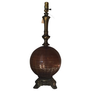 Antique Lamp With Amber Glass Details