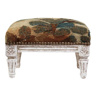 19th Century French Louis XVI Hand-Painted Footstool with Aubusson Tapestry