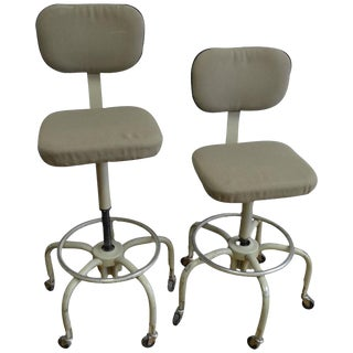 Vintage Industrial Adjustable Drafting Stools - A Pair