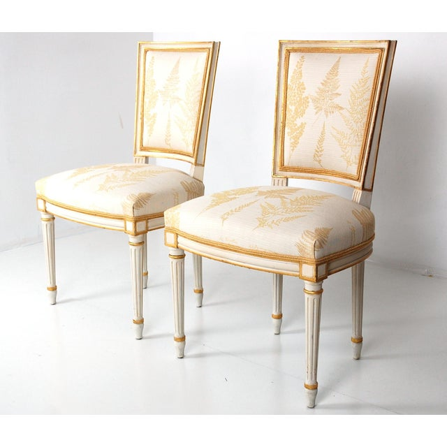 Image of Cream & Gilt Accent Chairs by Baker - A Pair