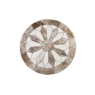 "Round Cowhide Patchwork Area Rug- 5'9"" x 5'9"""