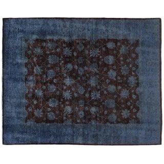 Silky Wool Blue & Brown Rug - 8′ × 10′