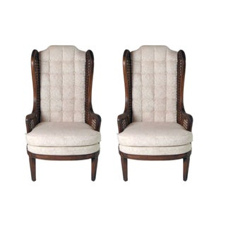Mid-Century Caned Fireside Chairs - A Pair