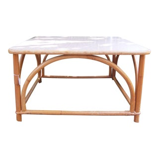 1960s Brown Bamboo Square Coffee Table
