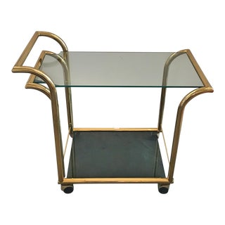 Italian Art Deco Inspired Two Tier Brass and Glass Bar Cart by DIA