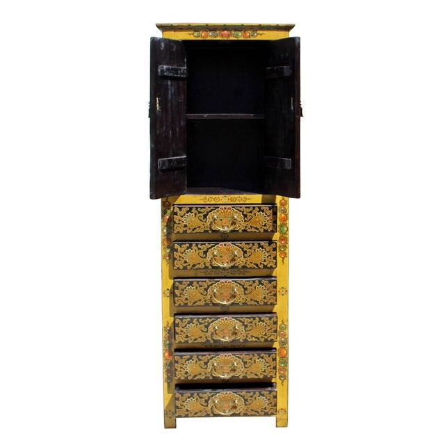 Image of Chinese Tibetan Dragon Slim Multi Drawer Cabinet