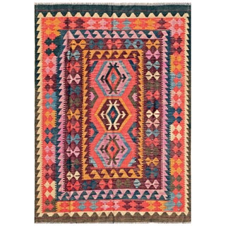 "Vintage Turkish Kilim Area Rug - 4'10"" X 6'9"""