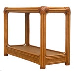 Image of Mid-Century Rattan & Leather Console Table