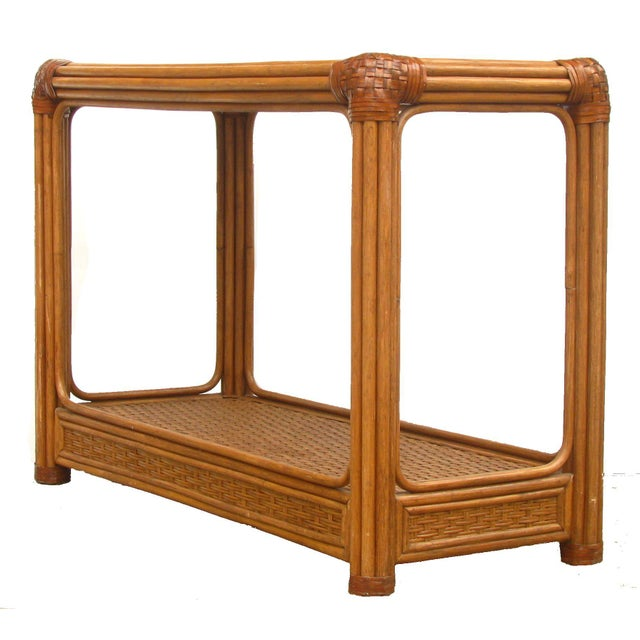 Image of Mid-Century Rattan / Bamboo & Leather Console Table