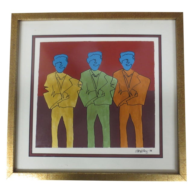 "STS Wiley ""Three Blue Men"" Ink & Acrylic on Paper - Image 1 of 7"
