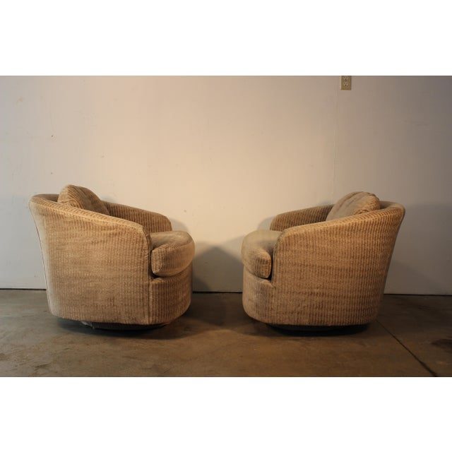 Milo Baughman for Thayer Coggin Swivel Lounge Chairs- A Pair - Image 7 of 11
