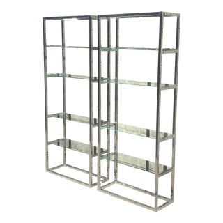 Milo Baughman Chrome & Glass Bookcases - A Pair