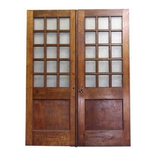 Textured Glass Panel Wooden Doors - A Pair