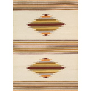 Modern Reversable Tan Wool Kilim Rug - 5' x 8'