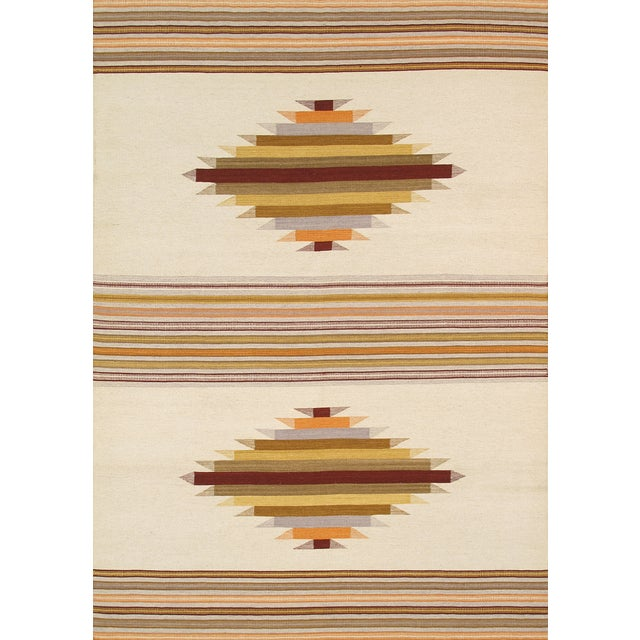Image of Modern Reversable Tan Wool Kilim Rug - 5' x 8'