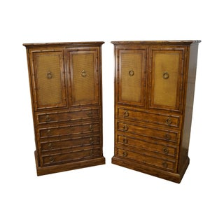 Vintage American of Martinsville Walnut Faux Bamboo Gentleman's Chests - Pair