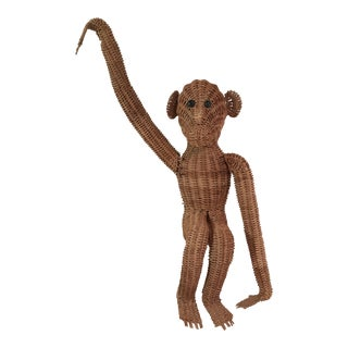 Vintage Wicker Hanging Monkey