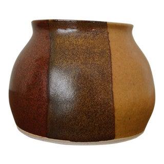 Mid Century Modern Maroon, Dark Brown, & Yellow Stripped Handmade Bowl