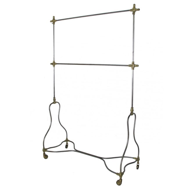 Vintage Industrial Steel and Brass Rolling Rack - Image 1 of 2