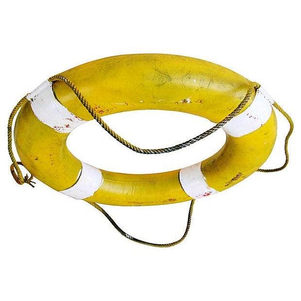 Image of Mid-Century Yellow & White Nautical Life Preserver