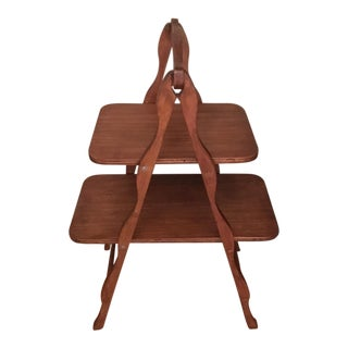 Mid-Century Solid Wood Folding Shelf/Table
