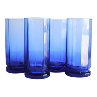 Vintage Cobalt Highball Glasses - Set of 4