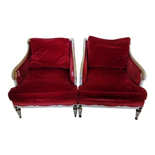 Vintage Scrolled Arm Red Velvet Chairs- A Pair