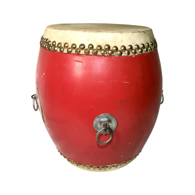Vintage Red Lacquer Chinese Festival Drum - Image 1 of 5