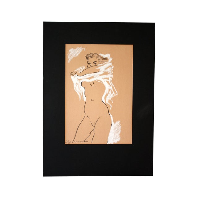 Image of Midcentury Nude Charcoal Drawing