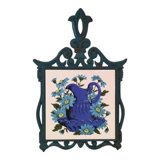 Mid-Century Blue & White Iron & Tile Trivet