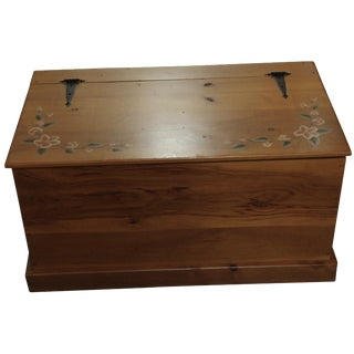 Amish Handmade Solid Wood Floral Design Trunk