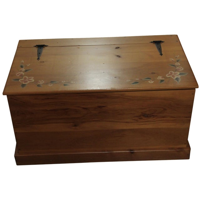 Image of Amish Handmade Solid Wood Floral Design Trunk