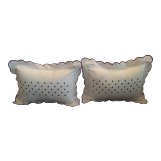 Set of 2 Biscuit Home Purple Polka Dot Pillows with Scalloped Piping Edges