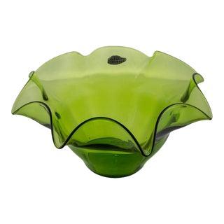 Green Blenko Fluted Fruit Bowl