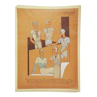 Circa 1930's French Fashion Pochoir Print