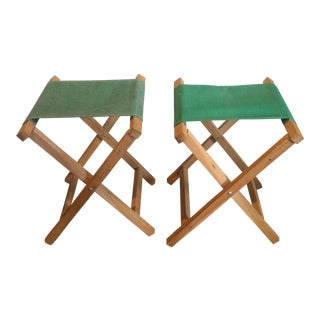 Vintage Green Camp Stools - A Pair