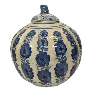 Blue & White Pumpkin Jar