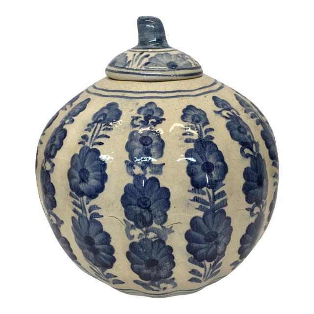 Blue & White Pumpkin Jar - Image 1 of 3