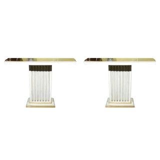 Jansen Painted & Eglomise Console Tables - A Pair